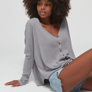 Jojo Oversized Thermal Button-Front Top
